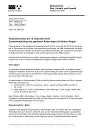 geplanten Änderungen im Kanton Aargau - Fahrplanentwurf