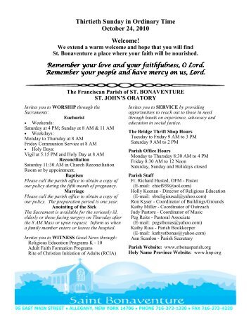 Oct. 24 parish bulletin - Holy Name Province