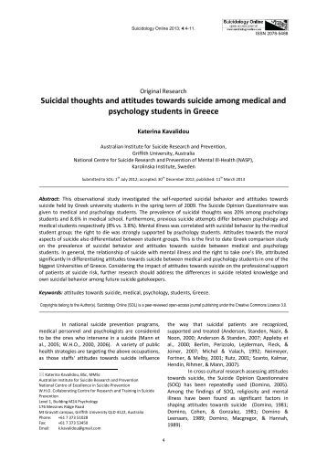 a research on different attitudes towards suicide Most quantitative studies that survey nurses' attitudes toward euthanasia and/or assisted suicide, also attempt to assess the influence of religion on these attitudes.