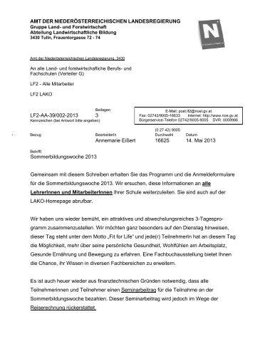 Programm und Anmeldeformular - Landwirtschaftliche Bildung in NÖ
