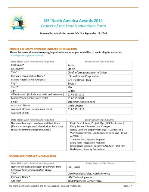 Sample of a Winning Nomination Form - (ISE®) Program Series