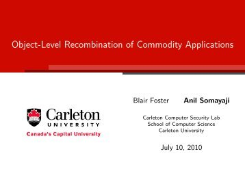 Object-Level Recombination of Commodity Applications - Carleton ...