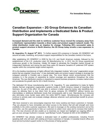 Canadian Expansion – 2G Group Enhances its ... - I-Newswire