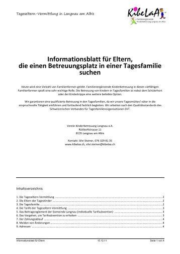 Informationsblatt für Eltern, die einen Betreuungsplatz in ... - KibeLaA