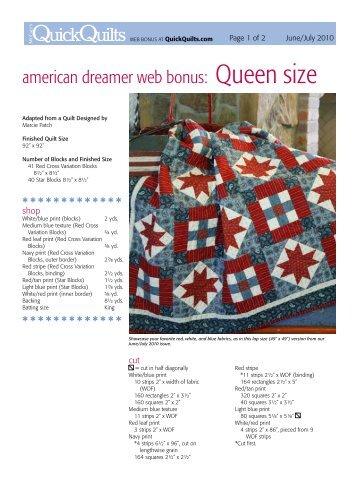 american dreamer web bonus: Queen size - McCalls Quilting