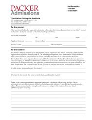 Teacher Recommendation (math) - The Packer Collegiate Institute