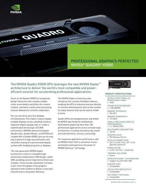 NVIDIA Quadro K5000 Datasheet - PNY