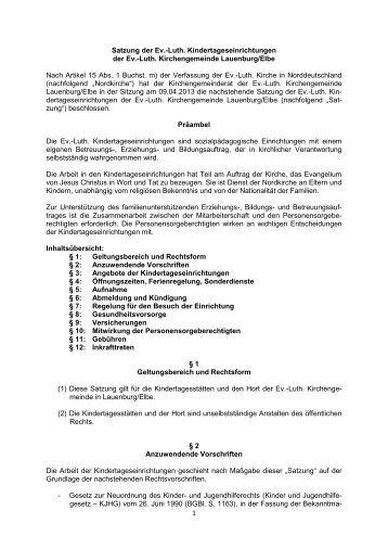Satzung (pdf) - ev. Kirche in Lauenburg