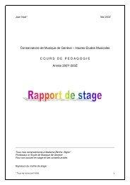 Conservatoire de Musique de Genève – Hautes Etudes ... - HEMU
