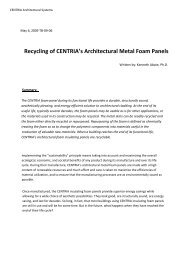 Recycling of CENTRIA's Architectural Metal Foam Panels