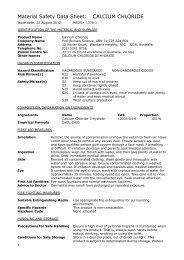 Material Safety Data Sheet: CALCIUM CHLORIDE - Prof Bunsen