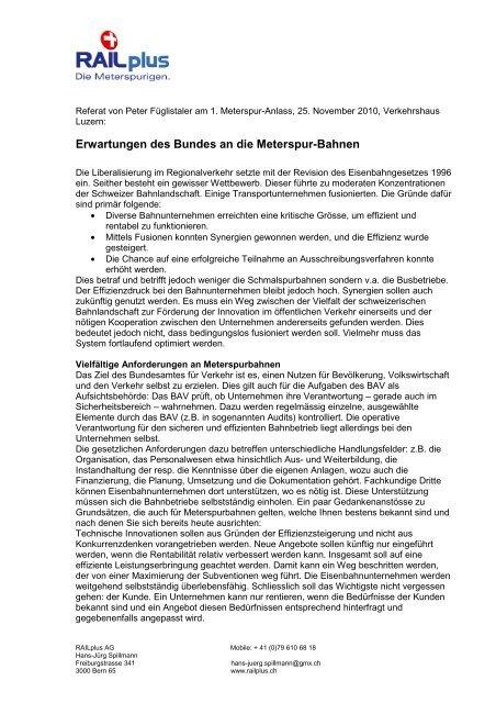 Erwartungen des Bundes an die Meterspur-Bahnen - Wer ist RAILplus
