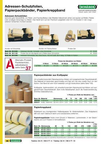 Adressen-Schutzfolien, Papierpackbänder, Papierkreppband