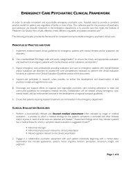 EMERGENCY CARE PSYCHIATRIC CLINICAL FRAMEWORK