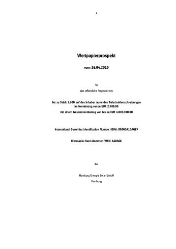 Anleiheprospekt Hamburg Energie Solar GmbH