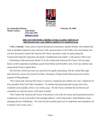 For Immediate Release February 28, 2006 Media Contact: John ...