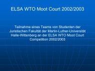 Powerpoint-Präsentation zur WTO Moot Court Competition 2002/2003