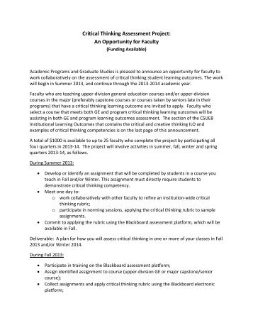 Critical Thinking assessment stipend - California State University ...