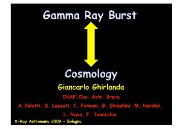 Gamma Ray Burst Cosmology - Inaf
