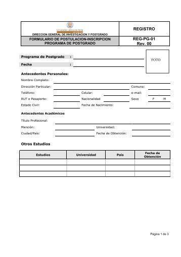 Formulario de Postulación e inscripción