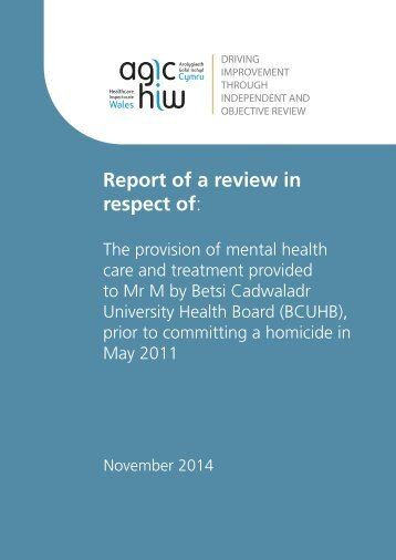 Betsi Cadwaladr UHB - Report - Final Report WEB VERSION - English - JMW DD - 2014-11-06