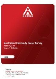 Australian Community Sector Survey Volume 7 TAS