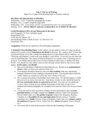 Unit 3: The Art of Writing Paper #3: 6-7 page Close Reading Paper ...
