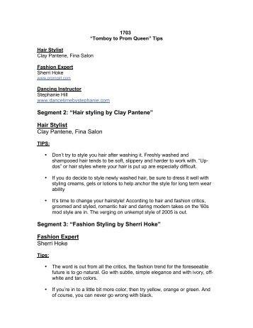 "Segment 2: ""Hair styling by Clay Pantene"" Hair Stylist Clay Pantene ..."