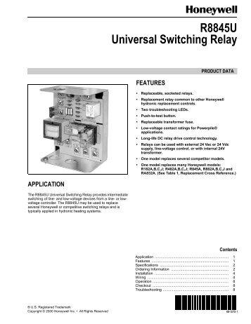 Honeywell Switching Relay R8845u Wiring Diagram Wiring Diagrams