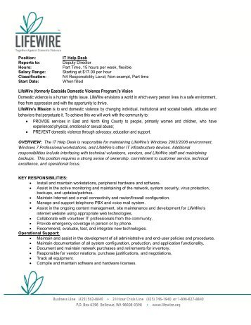 LifeWire (formerly Eastside Domestic Violence Program)'s Vision ...