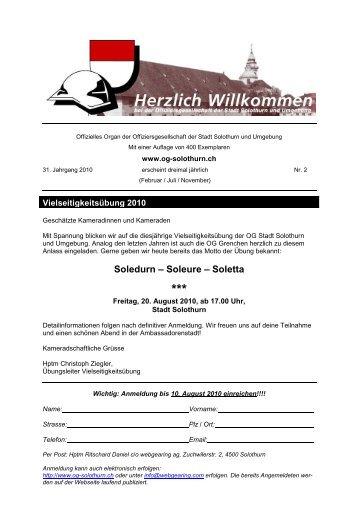 Bulletin 2010-2 - Offiziersgesellschaft Stadt Solothurn & Umgebung