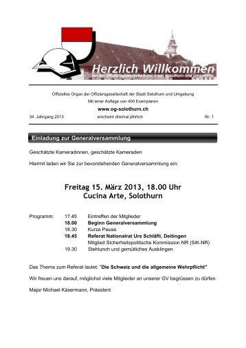 Bulletin 1 - Offiziersgesellschaft Stadt Solothurn & Umgebung