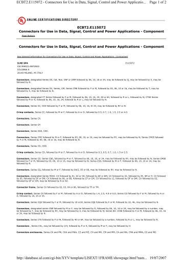 Page 1 of 2 ECBT2.E115072 - Connectors for Use in Data, Signal ...