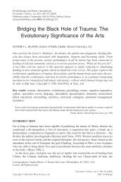 Bridging the black hole of trauma: the evolutionary significance of ...