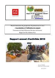 Projet de formation de groupements de ... - Fondation FARM