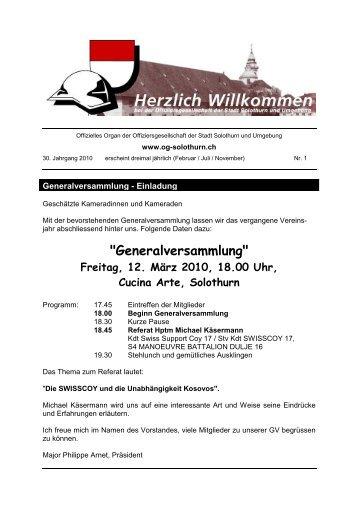 Bulletin 2010-1 - Offiziersgesellschaft Stadt Solothurn & Umgebung