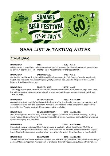 2014-summer-beer-festival-beer-list-tasting-notes