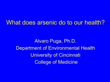 What does arsenic do to our genes? - Department of Environmental ...