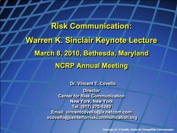 Presentation Objective - NCRP