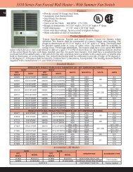 3310 Series Fan Forced Wall Heater - With Summer Fan Switch
