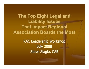 The Top Eight Legal and Liability Issues - Regional Association ...