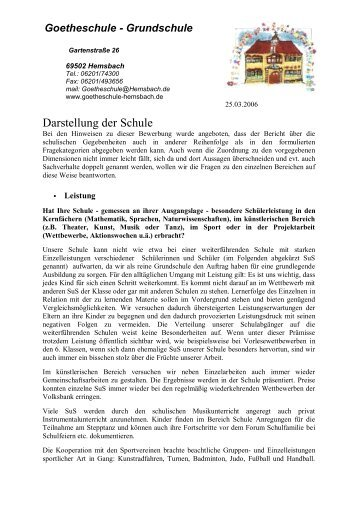 Darstellung der Schule - Goetheschule Hemsbach Homepage