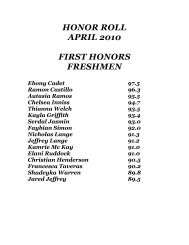 HONOR ROLL APRIL 2010 FIRST HONORS FRESHMEN