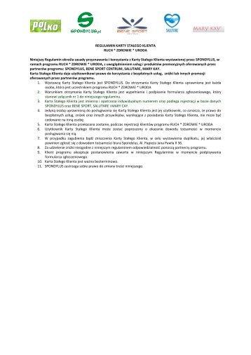 """regulamin karty klienta programu """"ruch*zdrowie*uroda"""" - Spondylus"""