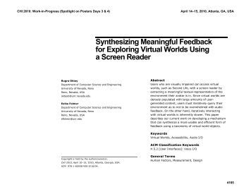 Synthesizing Meaningful Feedback for Exploring Virtual Worlds