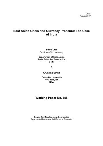 East Asian Crisis and Currency Pressure - Centre For Development ...