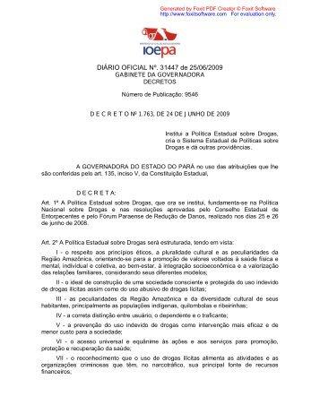 Decreto nº 1.763, de 24 de junho de 2009.