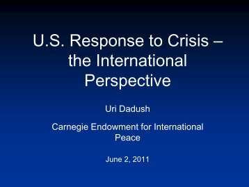 U.S. Response to Crisis – the International Perspective