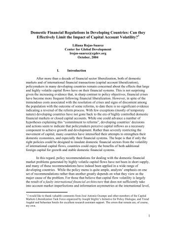Domestic Financial Regulations in Developing Countries: Can they ...