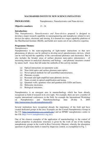 Nanophotonics, Nanoelectronics and Nano-devices - MacDiarmid ...